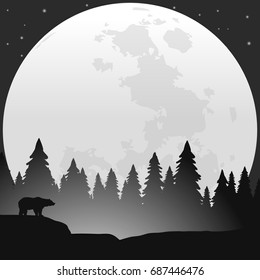 bear silhouette in wildlife vector landscape with moon at night