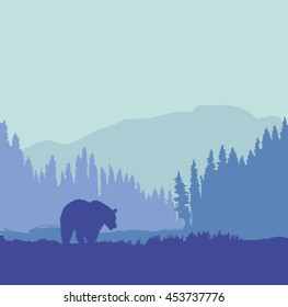 Bear silhouette in the woods near the mountains silhouette. - Vector