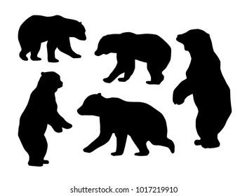 Bear Silhouettes on white background