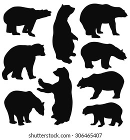 Bear Silhouettes on white background
