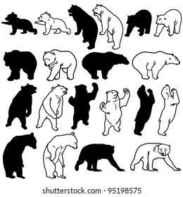 Bear Silhouettes on white background.