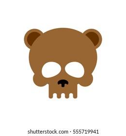 Bear skull isolated. Brown bears skeleton head