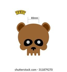 Bear skull mask. Masquerade for Halloween. Vector illustration of head of the skeleton of a wild animal.