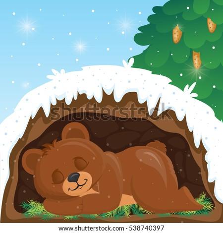 bear sleeps winter den stock vector royalty free. Black Bedroom Furniture Sets. Home Design Ideas