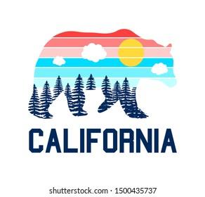 Bear and slogan vector illustration for t-shirt print design.