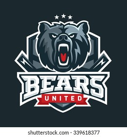 Bear Sport Logo Vector Template. Hockey logo template, hockey logotype, sport logotype template. Vector illustration. Bear face