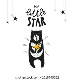 Bear and star, poster for baby room, greeting card, print on the wall, pillow, decoration kids interior, baby wear and t-shirts