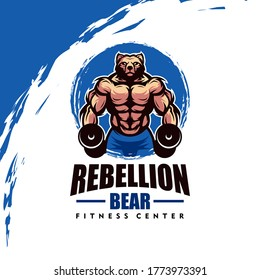 Bear with strong body, fitness club or gym logo. Design element for company logo, label, emblem, apparel or other merchandise. Scalable and editable Vector illustration