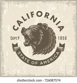Bear, stylized California logo, Sepia, vintage illustration vector