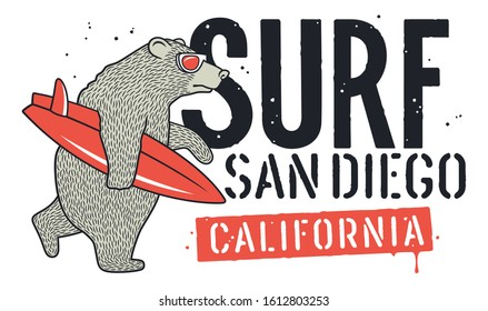 Bear with Sunglasses and Surfboard for T-shirt Design. Surfing Graphic Tee for kids. Funny illustration on the theme of surfing and summer vacation