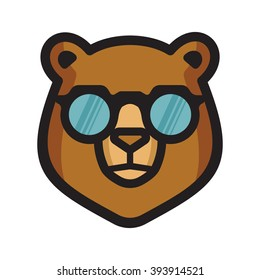 Bear with sunglasses vector icon