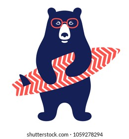 Bear surfer vector illustration for kids t-shirt. Surfing graphic Tee, printed Tee