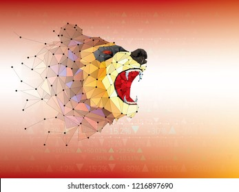 Bear symbols on stock market vector illustration. vector Forex or commodity charts, on abstract background.