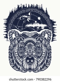 Bear tattoo art, symbol travel and tourism. Symbols hipsters travelers. Portrait of grizzly in night forest tribal tattoo and t-shirt design