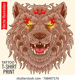 Bear tattoo - totemic animal. Bearish grin, glowing eyes. Wild nature. Tattoo stencil in Japan style. Hungry wolf, print for tshirt and other clothes. Isolated layered vector image on white background