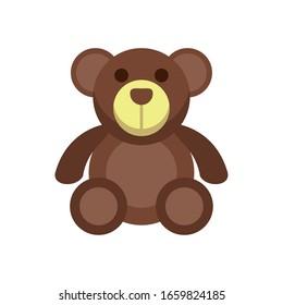 bear teddy child toy flat style icon vector illustration design