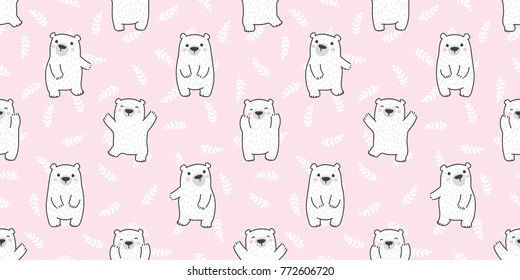 bear teddy polar bear in the forest leaf plant doodle vector Seamless pattern wallpaper