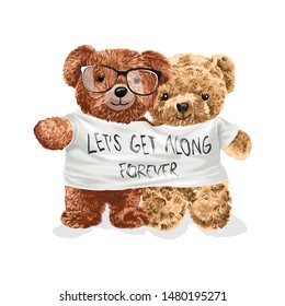 bear toy couple in get along t shirt illustration