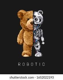 bear toy half robot illustration on black background