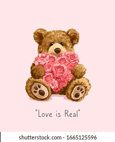 bear toy holding roses heart illustration