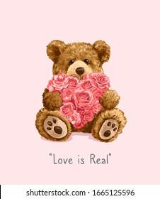 bear toy holding roses heart illustration