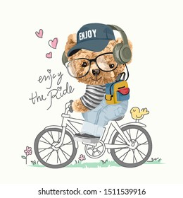 bear toy riding bicycle illustration