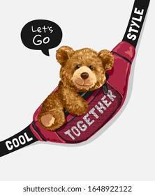 bear toy in sling bag illustration