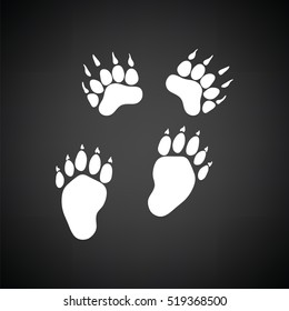 Bear trails  icon. Black background with white. Vector illustration.