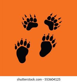 Bear trails  icon. Orange background with black. Vector illustration.