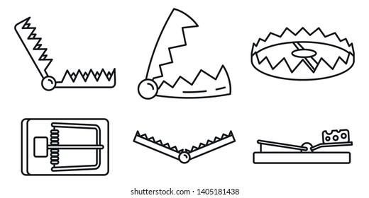 Bear trap icons set. Outline set of bear trap vector icons for web design isolated on white background