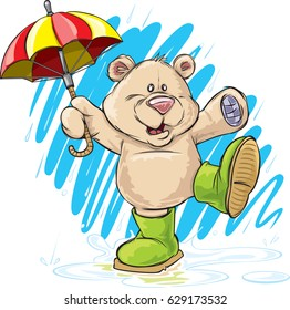 Bear with umbrella A cute cartoon bear dances with his umbrella