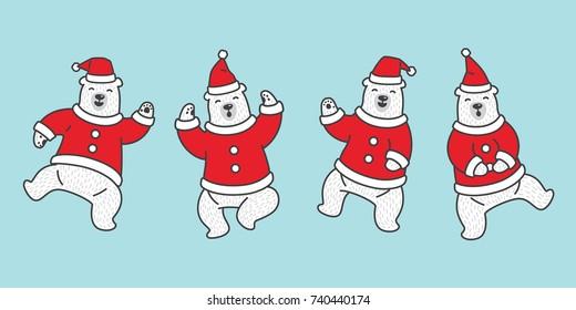 Bear vector Christmas icon logo polar bear dance Santa Claus Hat illustration cartoon