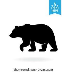Bear vector icon. Grizzly blak silhouette symbol. Wild animal sign.