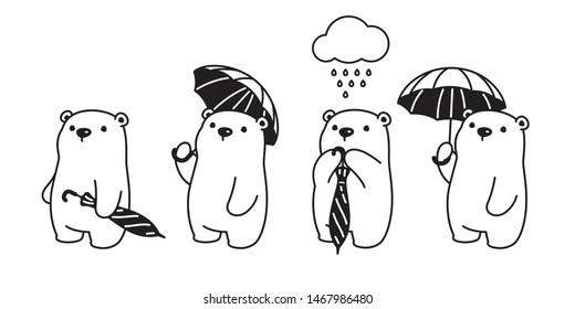 Bear vector icon polar bear umbrella rain cartoon character logo illustration doodle design