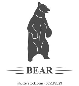 bear vector, bear with open mouth standing, white background, isolated. T - print