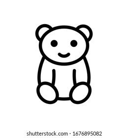 Bear vector outline illustration. baby toys icon.
