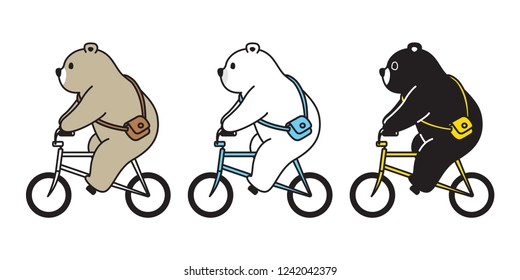 Bear vector polar bear bicycle riding cartoon character icon logo illustration doodle