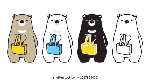 Bear vector polar bear cartoon shopping bag character icon logo illustration