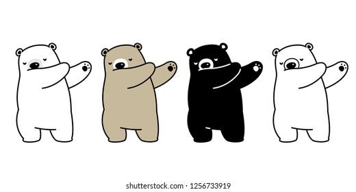 Bear vector polar bear dance dab dancing cartoon character icon logo illustration doodle
