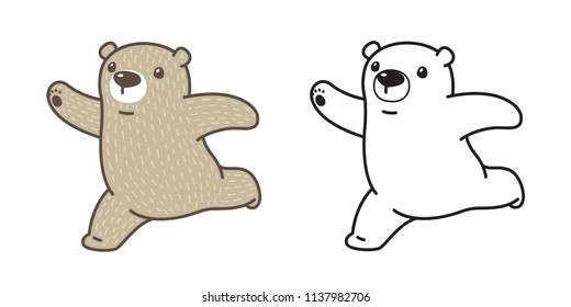 Bear vector Polar Bear icon logo run cartoon character illustration doodle