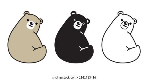 Bear vector Polar Bear icon logo smile sitting cartoon character illustration doodle