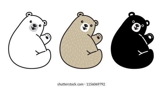 Bear vector Polar Bear icon logo cartoon character illustration smile sitting doodle