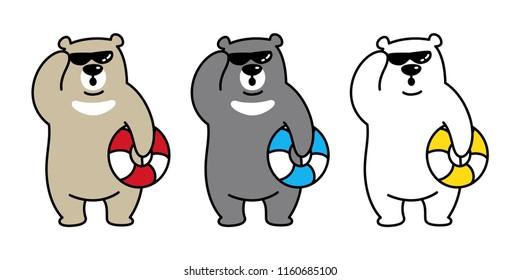 Bear vector Polar Bear icon logo beach swim ring swimming pool cartoon character illustration