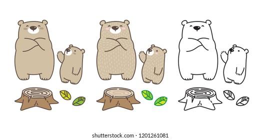 Bear vector Polar Bear icon logo kid leaf cartoon character illustration doodle