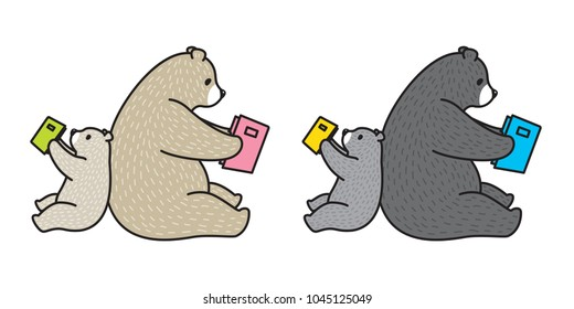 bear vector polar bear illustration reading book character cartoon doodle icon logo