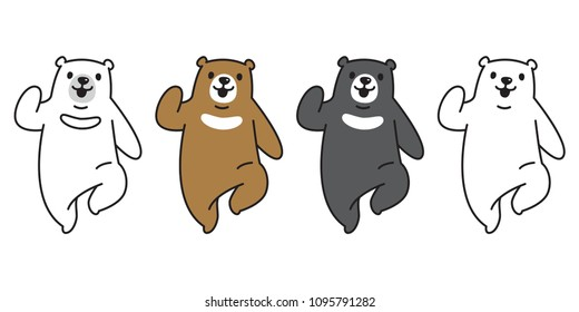 Bear vector polar Bear logo icon run illustration character cartoon doodle