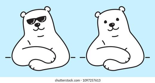 Bear vector polar Bear logo icon sunglasses illustration character cartoon doodle