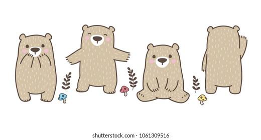 Bear vector Polar Bear mushroom illustration character icon logo