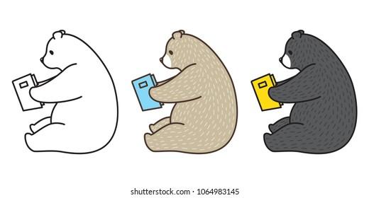 bear vector polar bear panda illustration reading book character cartoon logo icon