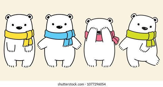 bear vector polar bear panda logo icon scarf kid illustration character doodle cartoon